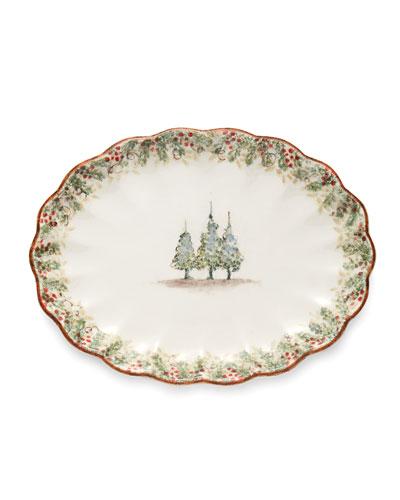 Natale Scalloped Oval Platter