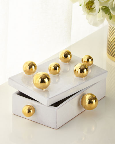 White Small Box with Golden Spheres