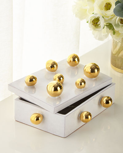 White Large Box with Golden Spheres