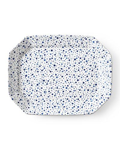 Midnight Sky Large Rectangular Platter  White/Blue