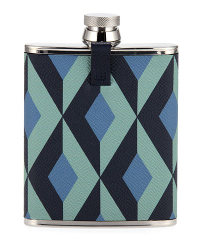 Men's Cadogan Engine Turn Leather-Wrapped Hip Flask