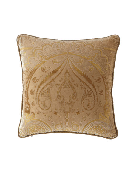 "Damask Velvet Pillow, 18""Sq."