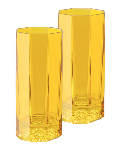 Medusa Lumiere Amber Long Drinking Glasses  Set of 2