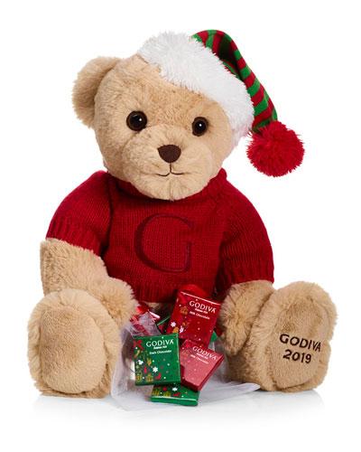 Holiday Plush Teddy Bear with Chocolates