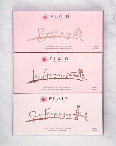 Set of Los Angeles  San Francisco and Beijing Dark Chocolate Bars