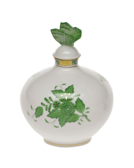 Chinese Bouquet Green Perfume Bottle with Butterfly