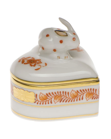 Chinese Boutique Rust Heart Box with Bunny