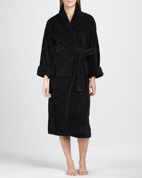 Plush Floral Robe, Black