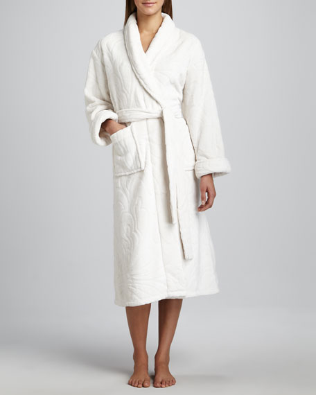 Plush Floral Robe, Ivory