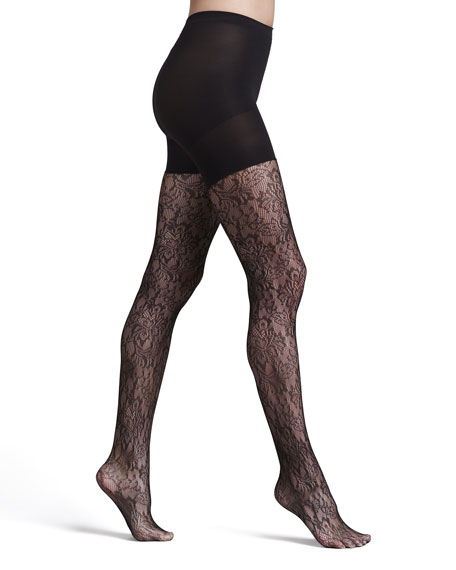 Tight-End Look-At-Me-Lace Tights, Black