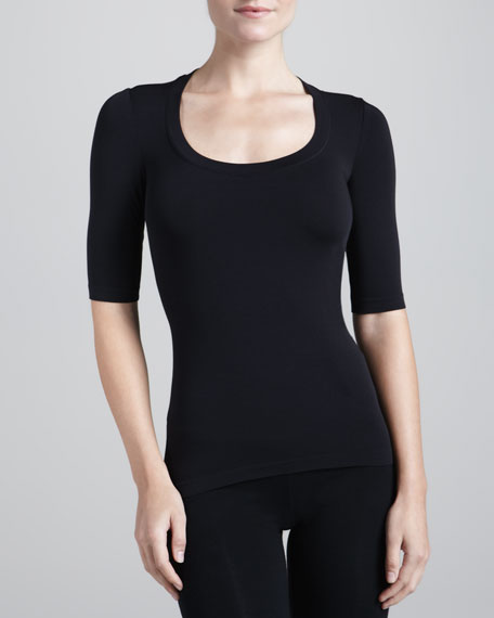 Image 1 of 1: Como Scoop-Neck Half-Sleeve Shirt