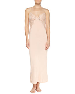 Begonia Lace-Inset Long Gown, Powder