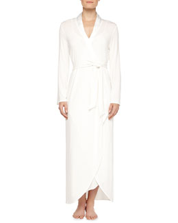 Primula Asymmetric Cutaway Long Robe, Natural