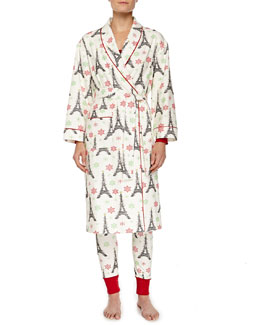 Holiday Eiffel Tower-Print Flannel Robe