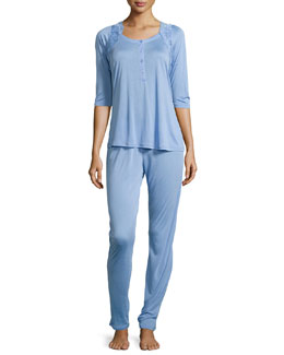 Begonia Two-Piece Pajama Set, Sky Blue