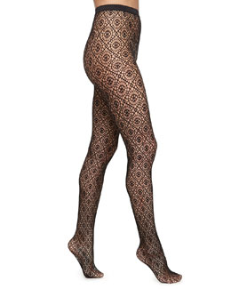 Daphne Medallion-Pattern Sheer Tights