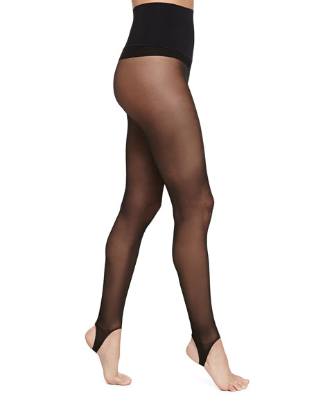 High-Waisted Sheer Stirrup Tights, Black