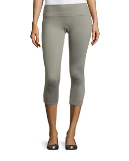 Structured Capri Leggings, Grayed Out