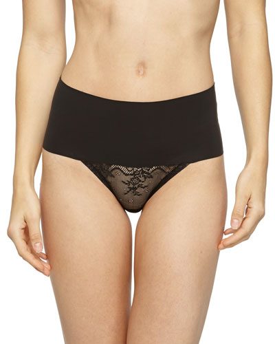 Undie-Tectable® High-Waist Lace Thong, Black