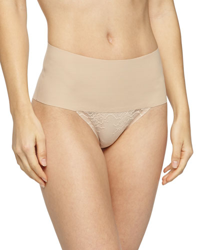Undie-Tectable® High-Waist Lace Thong, Soft Nude