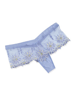 Vendome Floral-Embroidered Hipster Briefs, Lilac