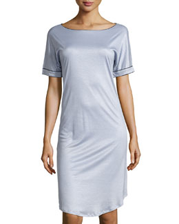 Portofino Short-Sleeve Gown, Blue