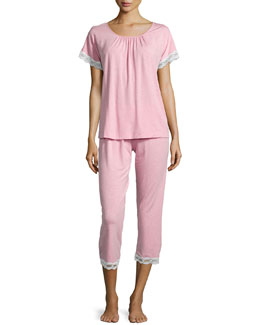 Liz Lace Cropped Pajama Set, Dusty Rose