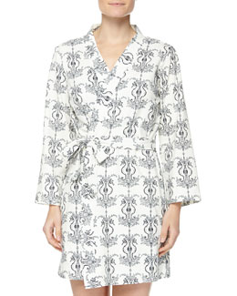 Seahorse-Printed Cotton Robe, Black/White