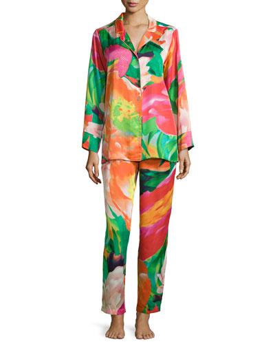 Garbo Floral-Printed Pajama Set, Multicolor, Women