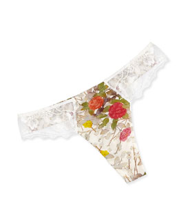 Kyoto Lace-Trim Thong, White Floral