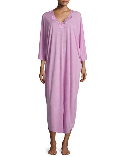 Zen Floral-Lace Caftan, Passion Purple
