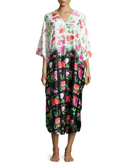 Martinique Floral-Print V-Neck Caftan, Multicolor