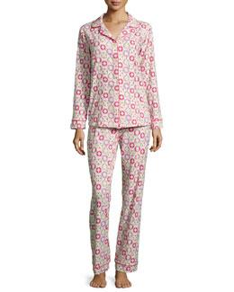 Lifesaver-Printed Classic Pajama Set, Pink