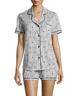 Amore Printed Short-Sleeve Shorty Pajama Set, Blue/Purple
