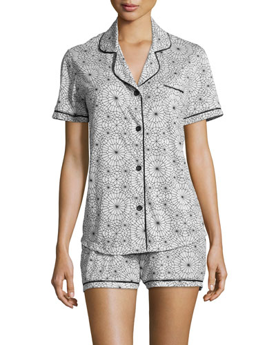 Amore Printed Short-Sleeve Shorty Pajama Set, Blue/Purple