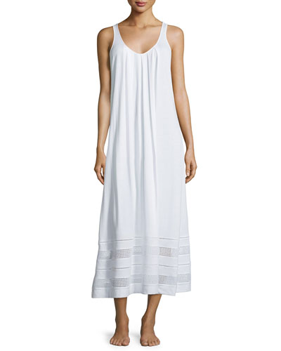 Spa Eyelet-Trim Sleeveless Gown, White