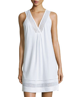 Spa Eyelet-Trim Sleeveless Chemise, White