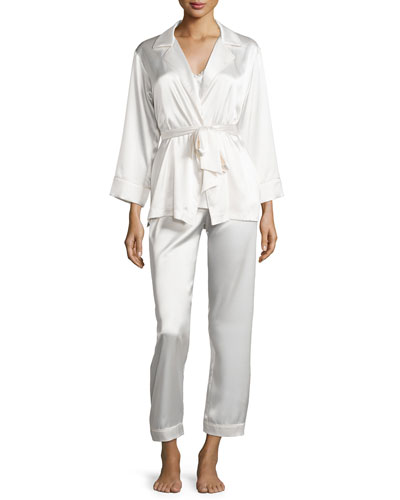 Charmeuse 3-Piece Pajama Set, Champagne