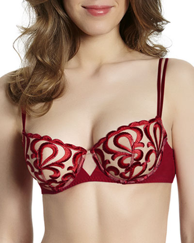 Look Embroidered Demi Cup Bra