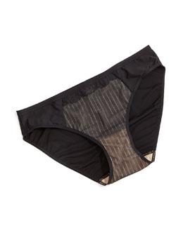 Evidence Lace Bikini Briefs, Black/Nude