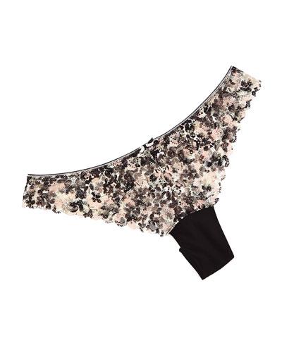 Merci Liberty-Print Tanga Panties, Black/White