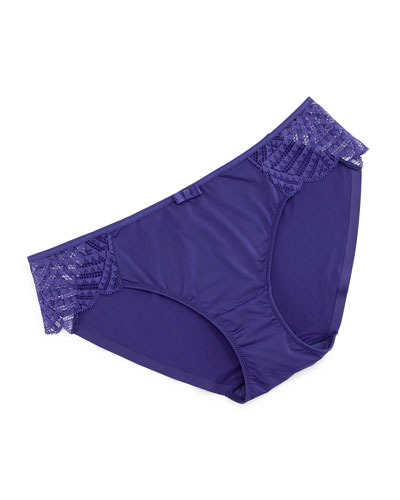 Illusion Lace-Trim Bikini Briefs, Navy