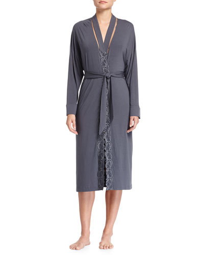 Zephyra Lace-Trimmed Wrap Robe