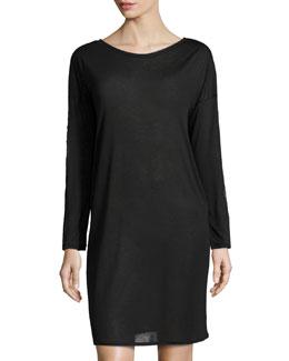 Chloe Lace-Trim Long-Sleeve Gown, Black