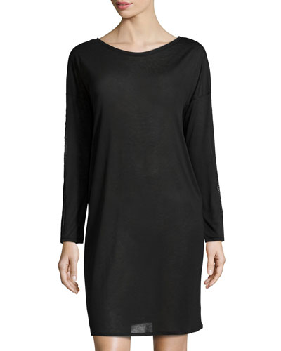 Chloe Lace-Trim Long-Sleeve Gown, Black