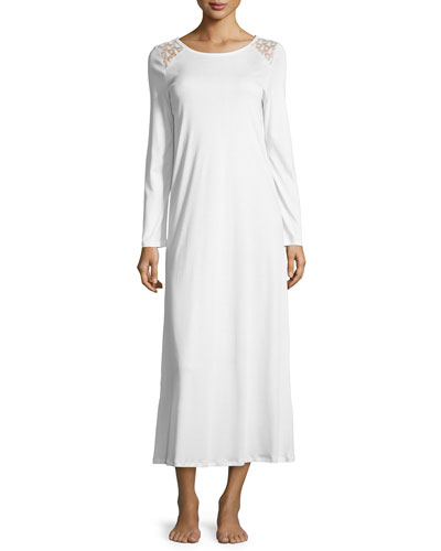 Clotilde Lace-Shoulder Long-Sleeve Gown, Off White