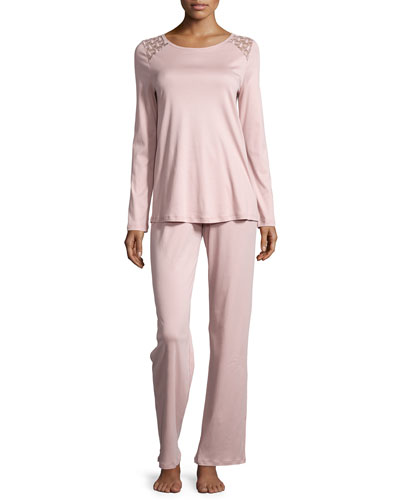 Clotilde Lace-Shoulder Long-Sleeve Pajama Set, Rose Dust