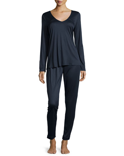 Domitille Ruffled V-Neck Pajama Set, Midnight