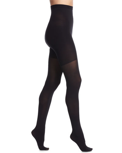 High-Waisted Luxe Sheer Tights, Very Black