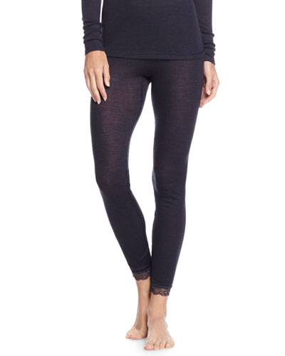 Woolen Silk Lace Leggings, Midnight